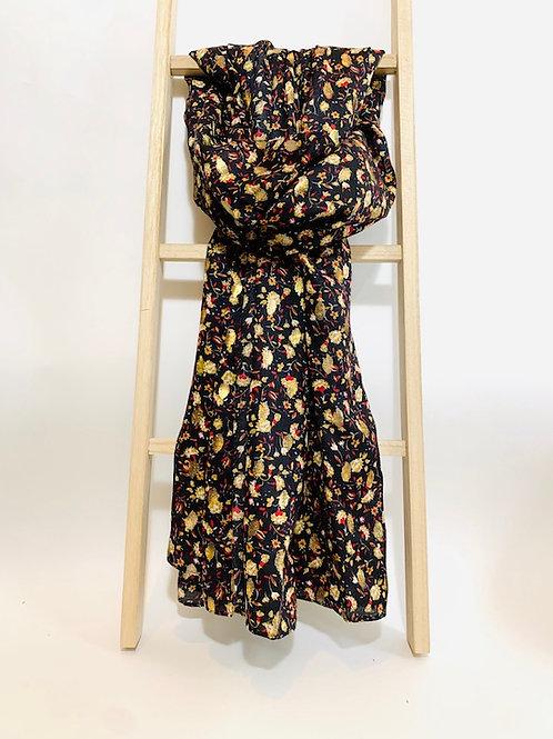 foulard femme fleurs dorées noir