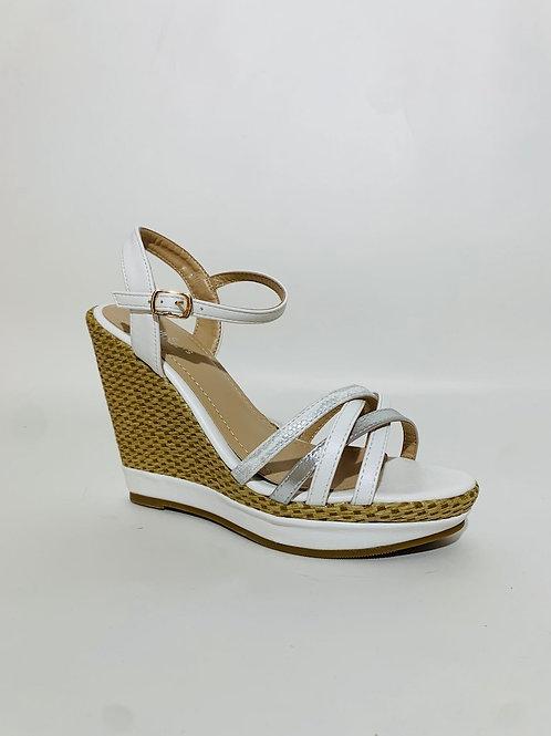 sandales compensées blanc femme
