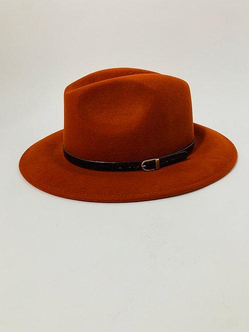 Chapeau feutre laine brique