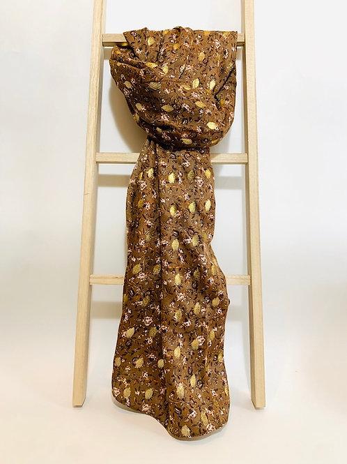 foulard  femme feuilles dorées marron