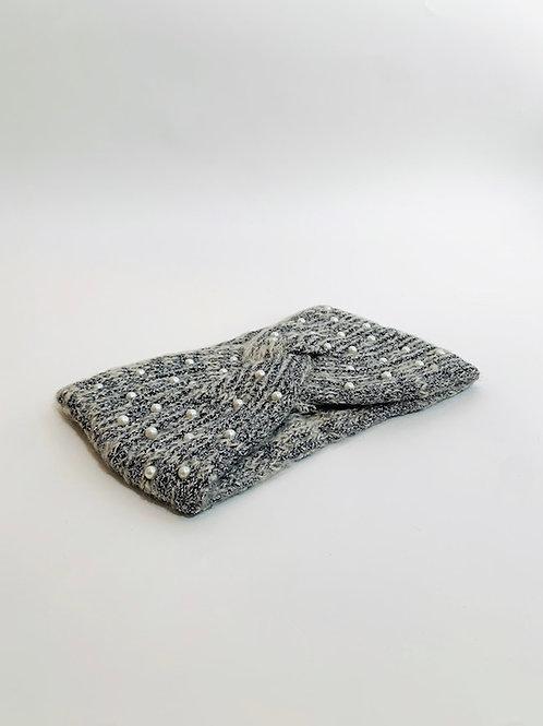 bandeau hiver femme perle gris