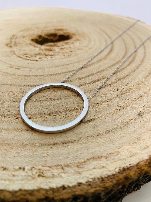 Collier cercle acier inoxydable argent