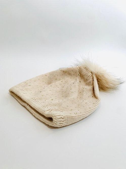 bonnet strass femme crème beige
