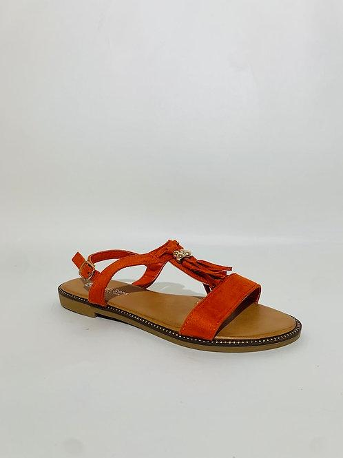 sandales pompom orange femme été