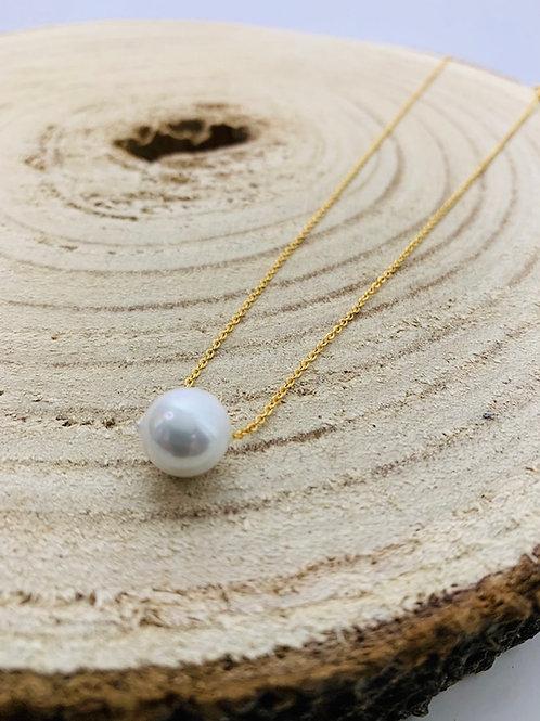 Collier acier perle or inoxydable
