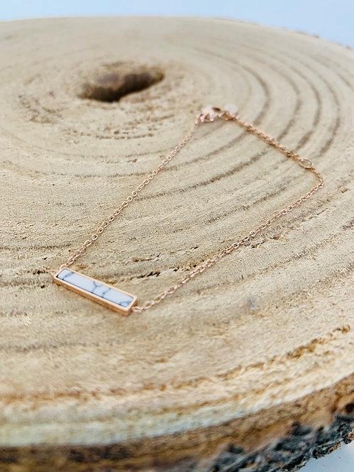 bracelet rectangle pierre nacre gold rose