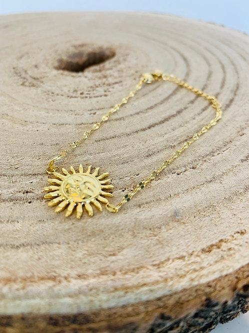 bracelet  soleil acier bijoux femme doré