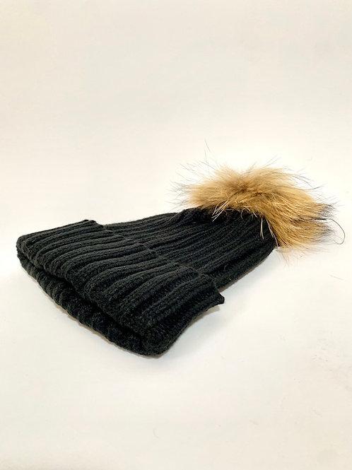 Bonnet noir pompom animal
