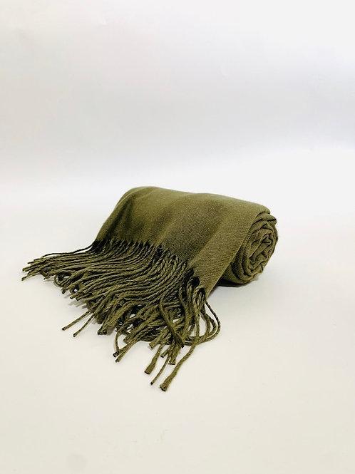 Écharpe femme uni kaki hiver