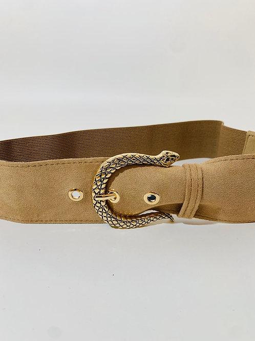 Ceinture élastique boucle serpent doré femme