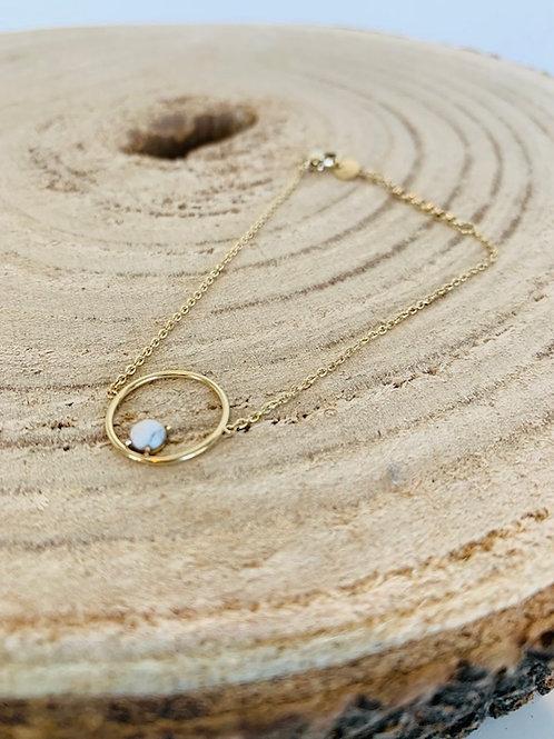 bracelet cercle pierre  acier femme doré
