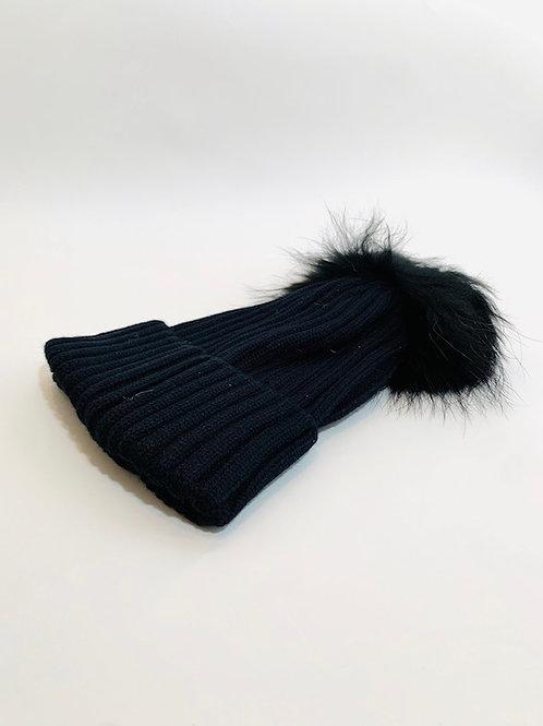 bonnet pompom noir femme