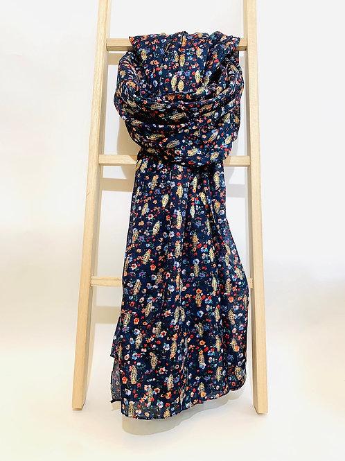 foulard femme feuilles dorées bleu marine