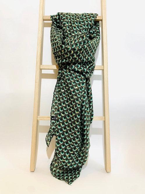 foulard femme automne hiver doré vert sapin
