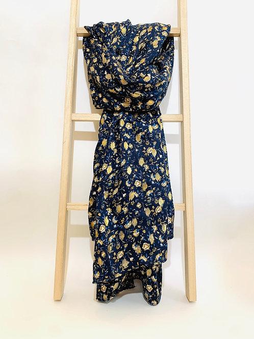 Foulard femme fleurs dorées bleu marine