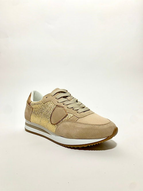 baskets beige dorée chaussures femme eldorada