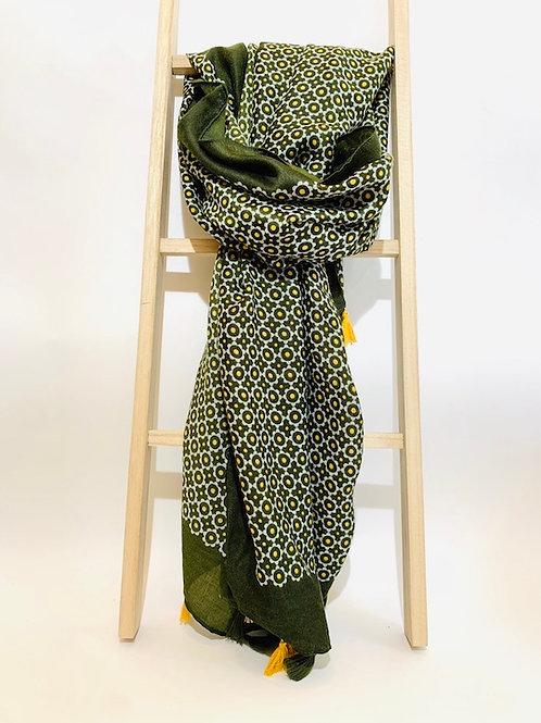 foulard pompom femme kaki automne hiver