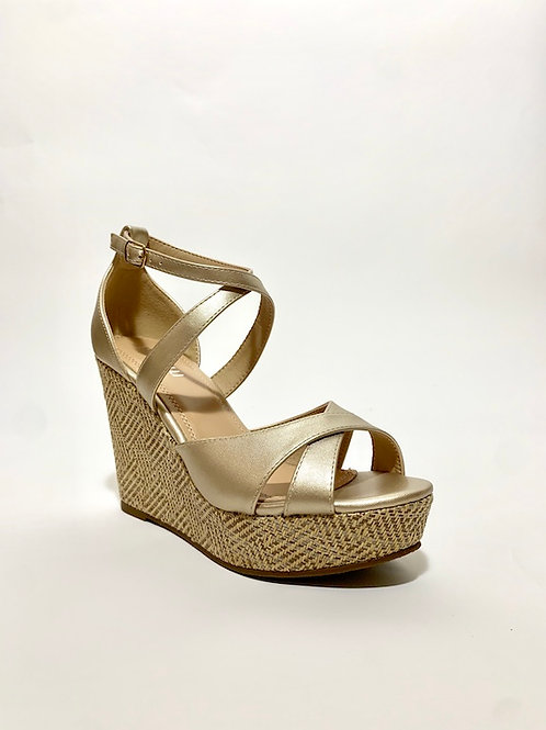 Compensées dorée chaussures femme eldorada
