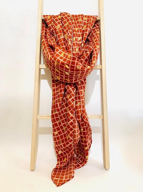 foulard femme brique motifs dorés