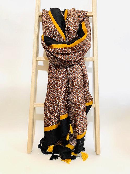 foulard femme fleurs automne hiver