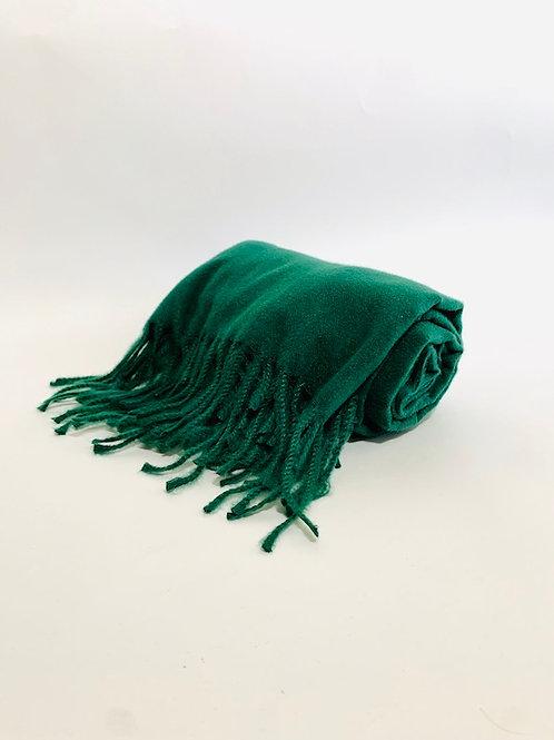 Écharpe femme uni vert sapin hiver