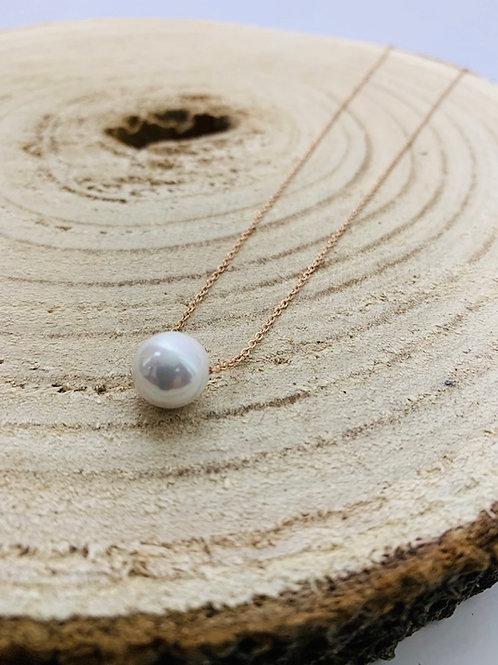 collier perle rose acier inoxydable