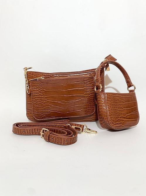 sac bandoulière croco marron femme