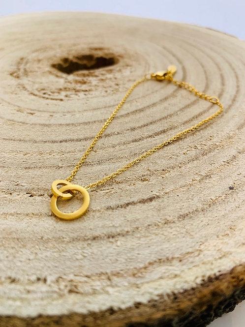 bracelet anneaux fin acier or