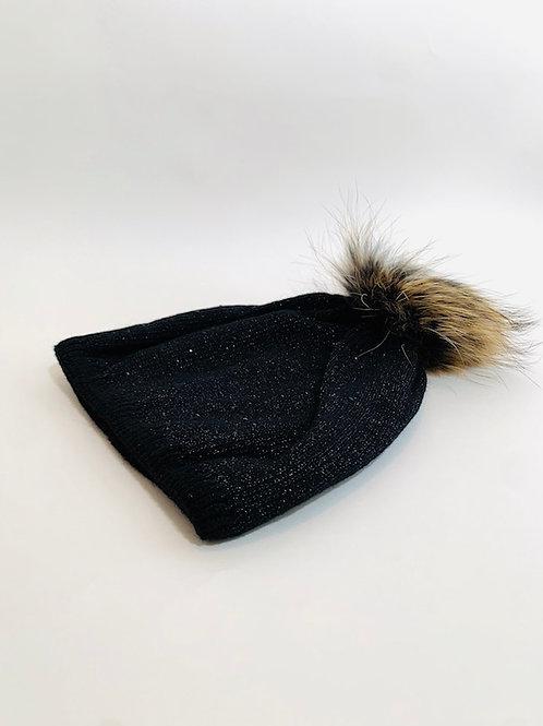 bonnet strass femme noir pompom raton laveur