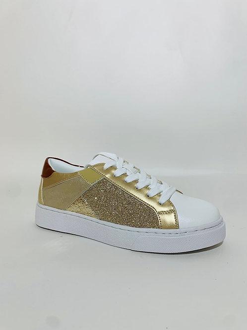 baskets gold paillettes femme