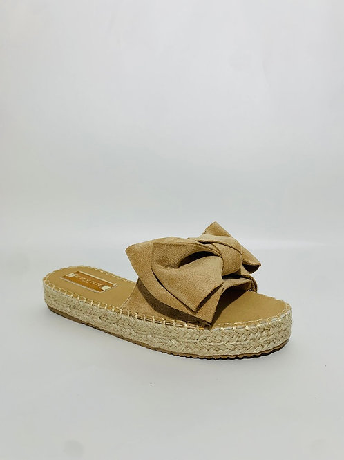 sandales claquettes femme beige noeud