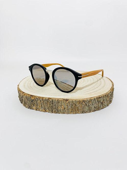 Lunettes de soleil rondes mixte homme femme noir miroir effet bois