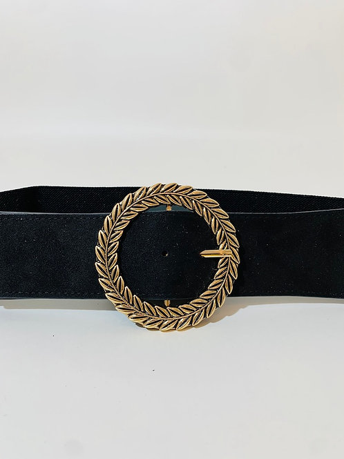 Ceinture élastique noir boucle couronne feuilles dorées femme