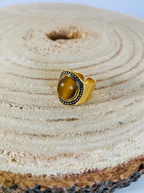 bague acier doré pierre marron