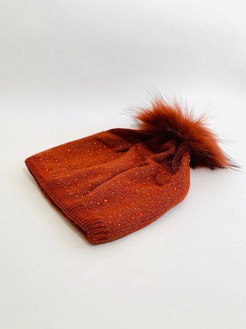 bonnet strass femme brique
