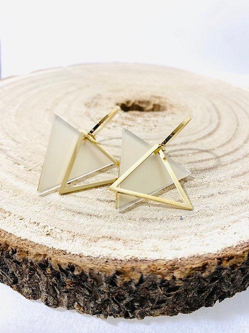 Boucles d'oreilles triangle acier or bijoux