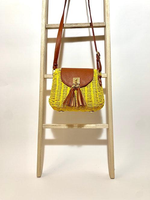 sac bandoulière fibre naturel osier femme eldorada jaune