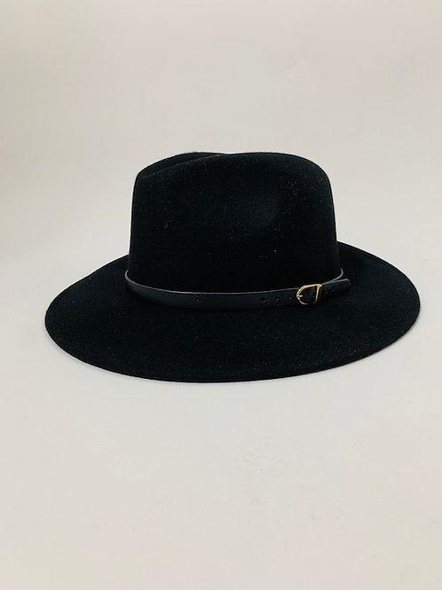 chapeau feutre laine noir classique