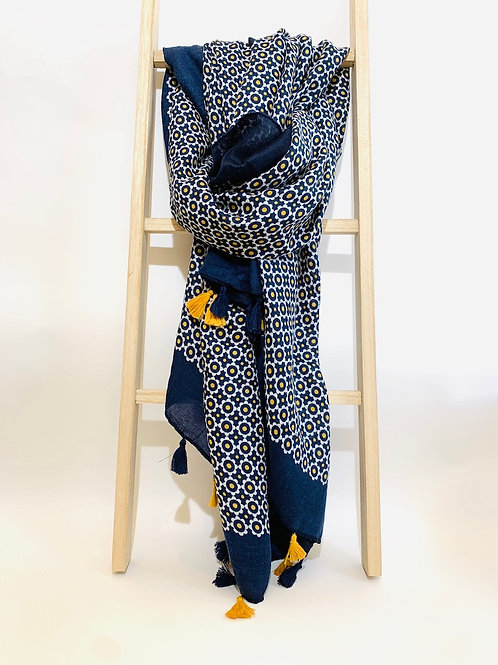 foulard femme automne hiver bleu marine