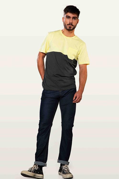 Snap zweifarbiges T-Shirt mit Brusttasche