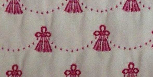 Embroidered Tassels Fabric - Raspberry
