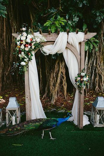 flamingo gardens wedding, vegan wedding, arch inspriation, ceremony inspiration, ceremony arch draping, arch flowers, ceremony flowers, lantens in weddings, vintage wedding decor inspiration