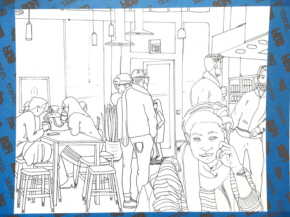 Ink drawing of coffee shop scene