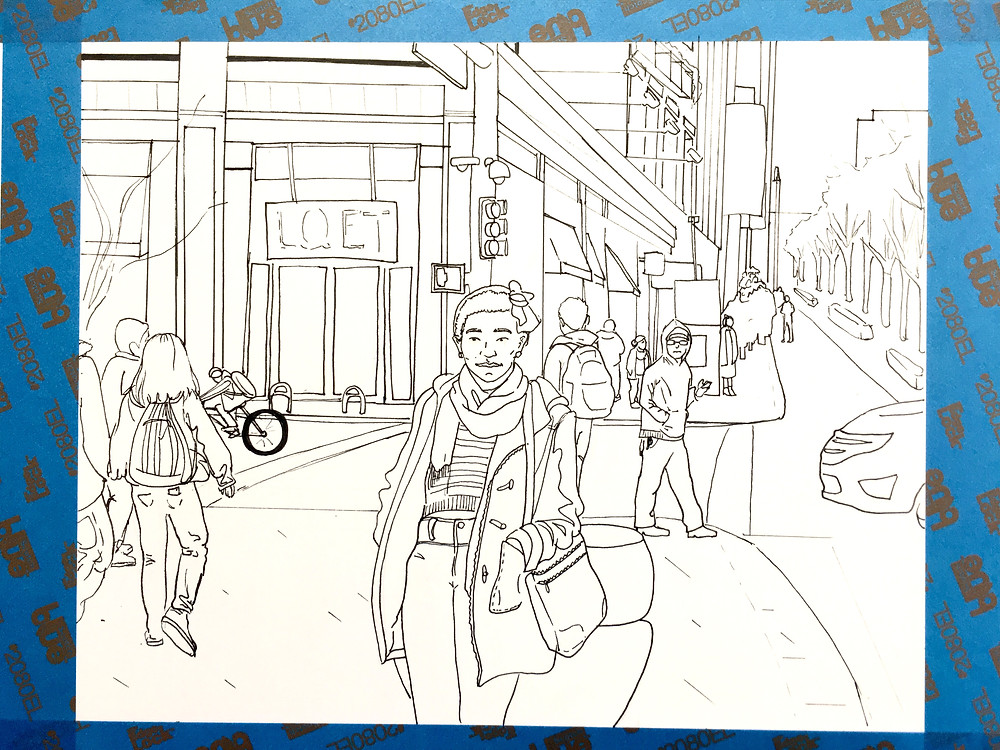 Ink drawing of 16th street mall scene