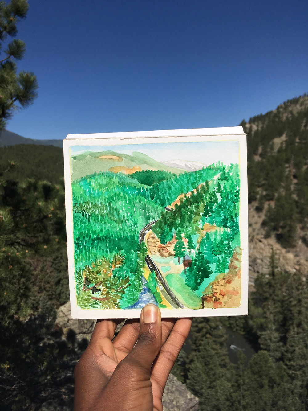 Plein air painting from out kitchen overlook during the Lodged Out Alumni Campout at Glen Isle Resort