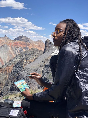Plein air painting on top of Sheep Mountian outside of Telluride CO during Project16x 2018