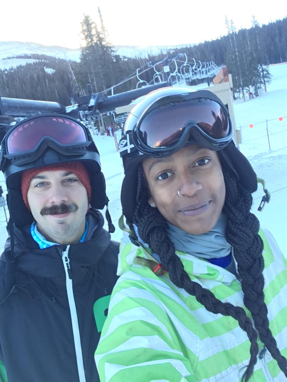 Snowboarding with my partner, J at Loveland!