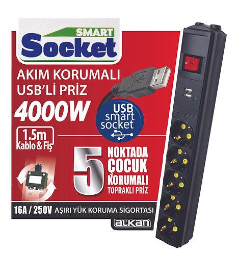 SmartSocket USB'li Akım Korumalı Grup Priz