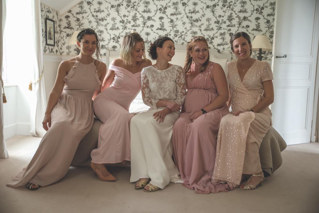 Photo de groupe, demoiselles d'honneur mariage au manoir de la Bruyère, Le Foeil