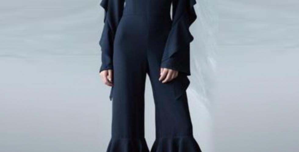 Navy Ruffle Jumpsuit
